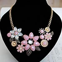 Dolland Fashion Choker Necklace Metal Resin Flower Bubble Bib Chain Statement Necklaces for Women,Pink
