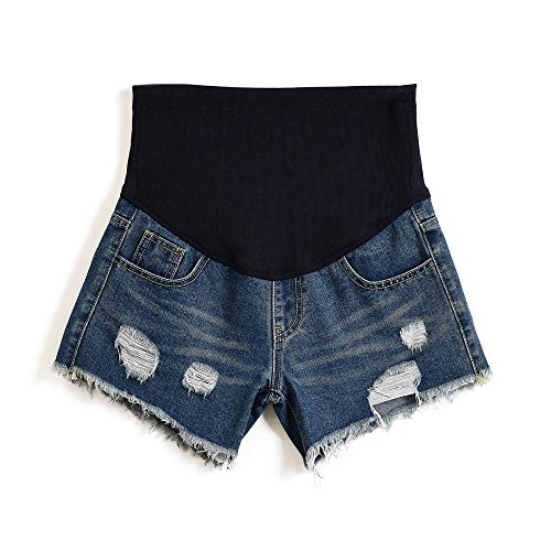 Women's Summer Adjustable Maternity Pregnant Plus Size Denim Shorts Blue Tag 4XL