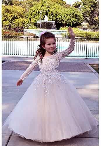d478cc023c08 TriumphDress Big Girls Pink 3D Lace Tulle Train Riana Flower Girl Dress 6/7