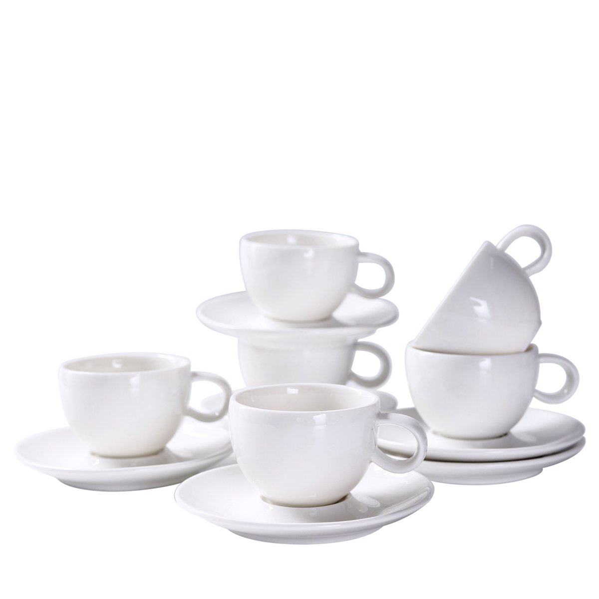 YOLIFE White Ceramic Espresso Cups,Beautiful Golfball Pits Model Demitasse Cups- 3OZ cup - set of 6 with Gift Package