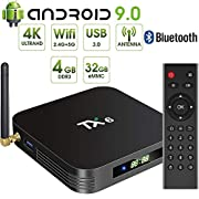 #LightningDeal Android 9.0 TV Box,Pendoo TX6 Android TV Box 4GB DDR3 32GB EMMC Dual WiFi 2.4G+5G Bluetooth Quad Core 3D 4K Ultra HD H.265 USB3.0 Android TV Box