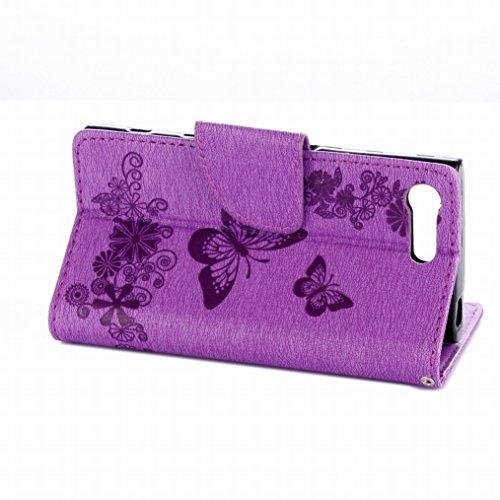 LEMORRY Sony Xperia X Compact Hülle Tasche Ledertasche Flip Beutel Haut Slim Fit Bumper Schutz Magnetisch Schließung Stehening Soft SchutzHülle Weich Silikon Cover Schale für Sony Xperia X Compact, Gl violett