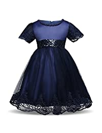 IBTOM CASTLE Girls Vintage Sequins Wedding Baby Birthday Dress Party Gown