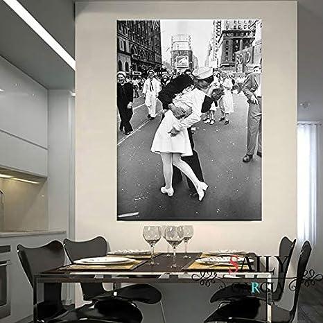 Generic Day on Times Square///Leinwanddruck und Poster Vintage Kuss Drucke New York City Foto Bild Wandkunst Home Decoration-60x80cm kein Rahmen