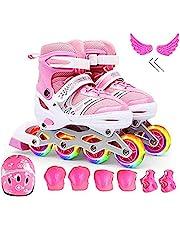 SooFam Inline Skates, Girls Pink Adjustable Inline Skates with Light up Wheels, Beginner Roller Skates for Girls, Men and Ladies