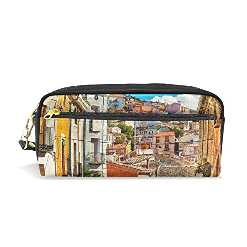 My Daily Colorful Spain Streets And Buildings Painting Pencil Case Pen Bag Pouch Coin Purse Cosmetic Makeup Bag by ALAZA