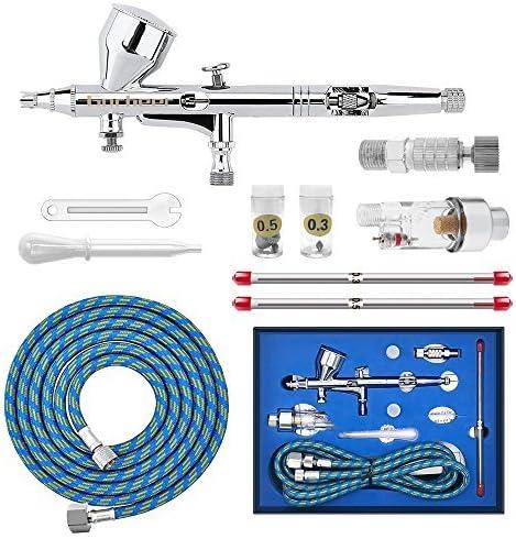 Gocheer Airbrush Pistolen Set-Double Action Airbrush Spray Kit,mit Luftfilter schnellkupplung,3 verschiedene Düsen und Nadeln (0.2,0.3,0.5mm) für Airbrush Tattoo Set,Nageldesign Makeup Handwerk Kuchen
