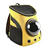 Canvas Bubble Portable Pet Travel Backpack Breathable and Transparent Pet Bag for Adventure or Travelling (yellow)