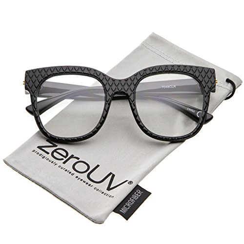 zeroUV - Women's Oversize Wide Arms Square Clear Lens Horn Rimmed Eyeglasses 52mm (Black / - Wayfarer Eyeglasses Oversized