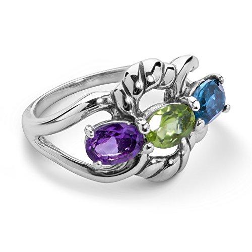 Carolyn Pollack Sterling Silver Purple Amethyst, Green Peridot and Blue Topaz Gemstone 3-Stone Ring Size 5