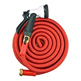 50' Latest Super Expanding Garden Hose, Solid Brass Ends, Double Latex Core, Extra Strength Fabric, 8 Function Spray Nozzle and Shut-off Valve(Black/Red) (50', Red)