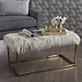 Glam Faux Furry White Long Fur Ottoman with Gold Finish Stainless Steel Frame For Sale