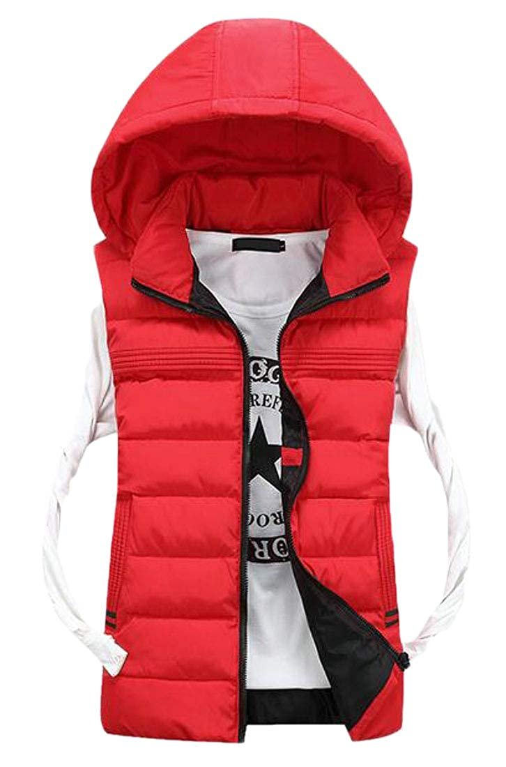 Fubotevic Mens Sleeveless Winter with Removable Hood Quilted Vest Puffer Jacket Outerwear