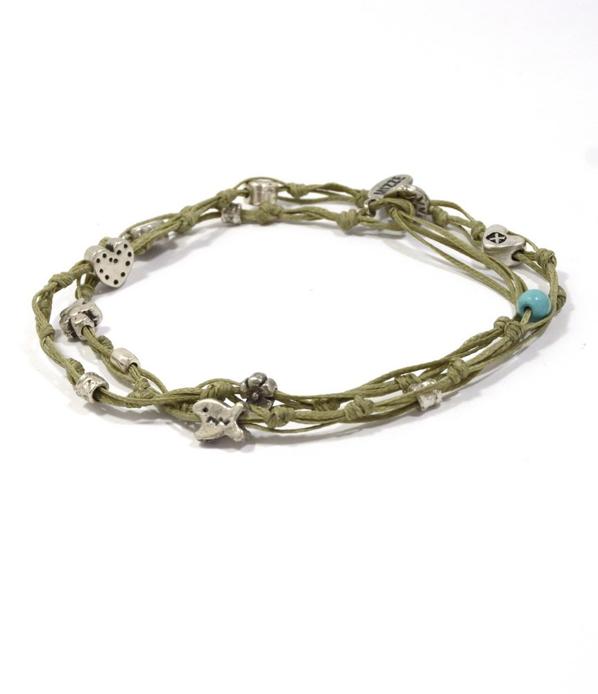 Women's 10.5'' Ankle Bracelet in Khaki & Silver - Double Wrap Charm Anklet for Love & Good Luck