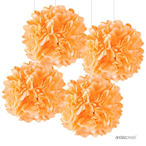 Andaz Press Large Tissue Paper Pom Poms Hanging Decorations, Orange, 14-inch, 4-Pack, Fall Autumn Halloween Thanksgiving Classroom Office Decorations Colored Birthday Party Supplies (Office Halloween Party Decorations)