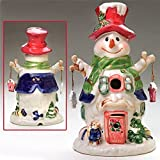 """Ceramic 11"""" Electric Snowman Christmas Down Home - NEW (Maroon Hat)"""
