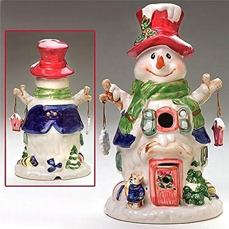 Ceramic 11' Electric Snowman Christmas Down Home - NEW (Maroon Hat) Designapirations