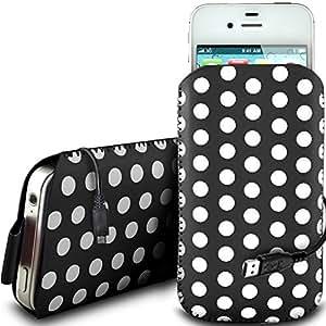Online-Gadgets UK - Nokia Lumia 925 de protección pu Polka de cuero con cremallera diseño antideslizante de cordón en la bolsa del caso con Quick Release y datos cable de carga USB - Negro