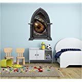 """48"""" Castle Scape Instant Fairy Tale Window View DRAGON EYE #2 GRANITE Wall HUGE Decal Sticker Graphic Mural Home Kids Game Room Office Art Decor NEW"""