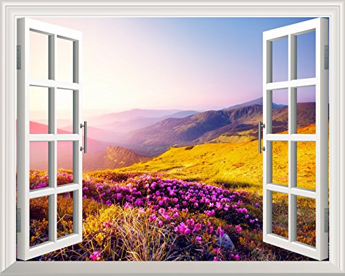 Removable Wall Sticker Wall Mural Beautiful Moutain Landscape in Morning Light out of the Open Window Creative Wall Decor