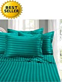 Difference Between King Size Bed and California King Elegant Comfort #1 Bed Sheet Set on Amazon - Super Silky Soft - 1500 Thread Count Egyptian Quality Luxurious Wrinkle, Fade, Stain Resistant 6-Piece STRIPE Bed Sheet Set, California King Turqouise