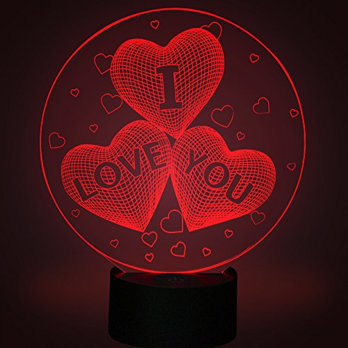 Love Hearts 3D Illusion LED Lamps, YKL World 7 Colour Light Changing Touch Switch 5 feet USB Cable Romantic Gifts for Lover