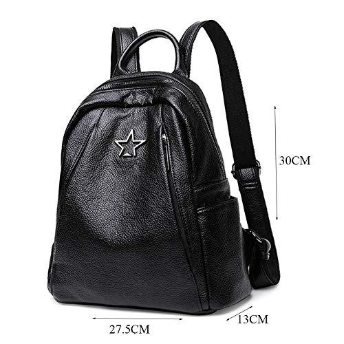 Noir 27 Sac Capacité Black Dos Multi Grande fonctions En 30 Étudiants Cuir Casque Décontracté Pour Femmes À 5cm Trou 13 7a7qwrU