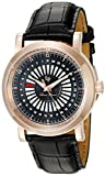 Lucien Piccard Men's 'Ruleta' Quartz Stainless Steel and Leather Casual Watch, Color:Black (Model: LP-40014-RG-01)
