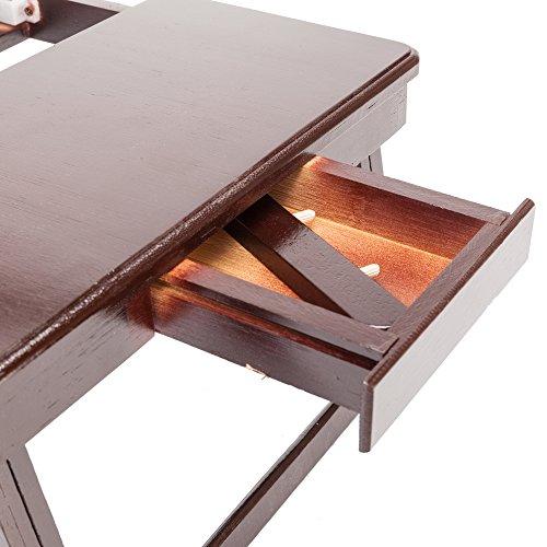 Tenozek Retro Plain Design Adjustable Bamboo Lap Desk Tray Dark Coffee by Tenozek (Image #2)
