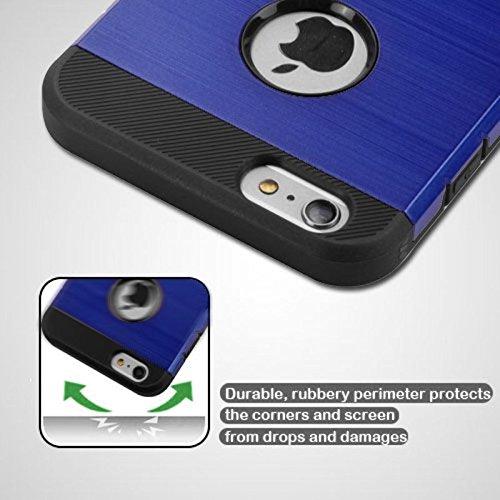 Mybat Tuff Trooper Coque hybride de protection pour iPhone 6S Plus/6/6Plus–Bleu foncé/Noir Brossé