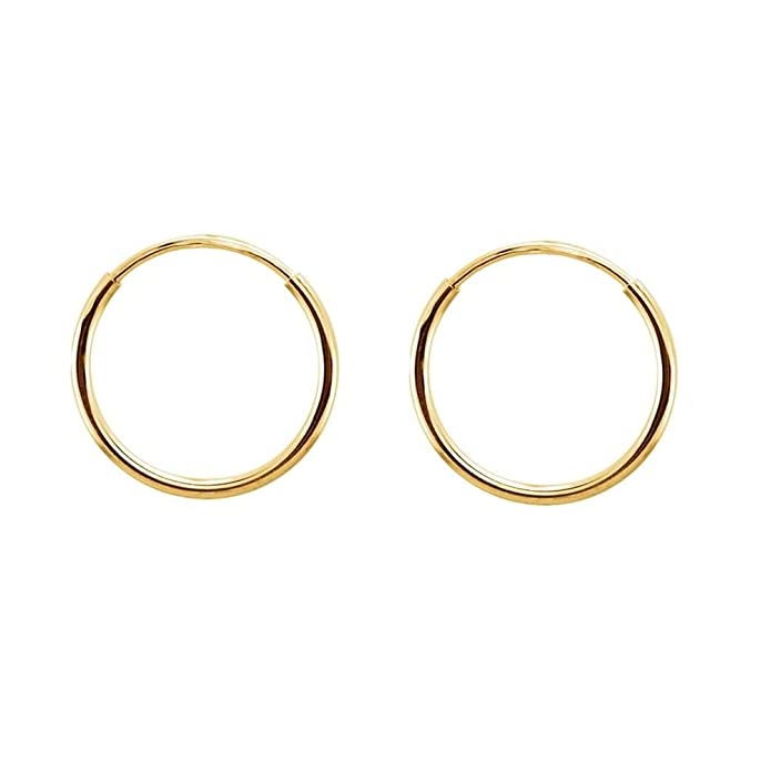 iJewelry2 Continuous Endless Round Circle 14k Yellow Gold Hoop Earrings 12mm 3Hb0zuz5N