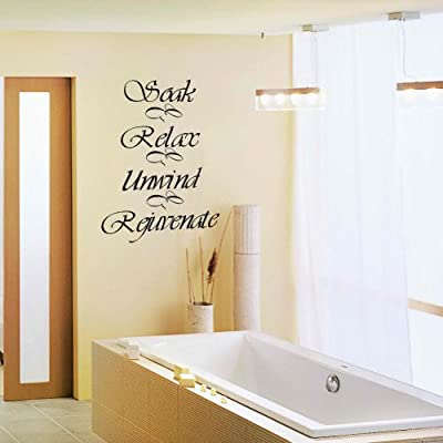 Soak Relax Unwind Rejuvenate Vinyl Wall Decal Quote Happyness Letters Phrases Words Murals Bath Room Art Decoration