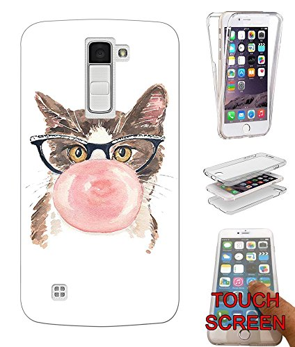 001000 - Cool Fun Cute Illustrating Cat Kitten Feline Nerd Glasses Bubblegum Love Design LG K8/V3 2017 Fashion Trend CASE Gel Rubber Silicone Complete 360 Degrees Protection Flip Case Cover
