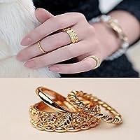 paweena Midi Ring 3pcs Rose Craved Knuckle Ring Set Gift Mid Index Finger Rings