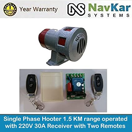NAVKAR Single Phase Hooter for Industries, School & College 1.5 Km Range with 220V 30A Receiver with 2 remotes
