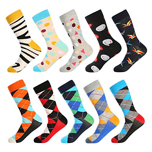 Bonangel Men's Fun Dress Socks - 10 Pairs Colorful Funny Novelty Crazy Crew Socks Pack with Cool Argyle Geometric Patterns(10 pairs-Mix 4)