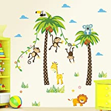 Witkey Cartoon Forest Animal Monkey Crow Koala Coconut Palm Tree Nursery Wall Stickers Murals DIY Posters Vinyl Removable Art Home Decals for Kids Girls Room Decoration