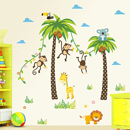 decalmile Jungle Animals Giraffe Lion Monkey Palm Tree Wall Stickers for Kids Room Children Wall Decal Baby Nursery Bedroom Living Room - Monkey Tree Elephant Palm