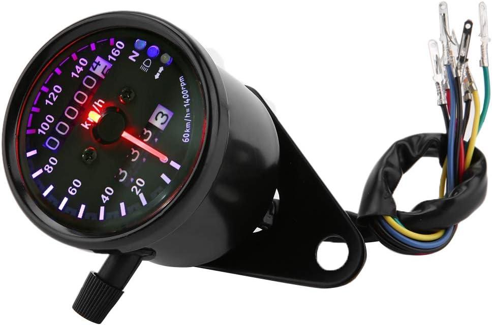 CC 12V Universal moto LED r/étro-/éclairage double compteur kilom/étrique jauges compteur Compteur kilom/étrique de moto