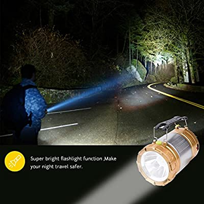 LED Camp Light & Handheld Flashlight & Power Bank TWOBIU Updated Camping Lantern, Solar Rechargeable in the Bottom for Hiking, Camping, Fishing, Emergency Charging