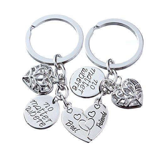 2pcs BBF Best Friends Key Chain Ring Set No Matter Where Compass Split Broken Heart Friendship Gift Unisex (Heart)