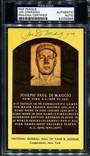Joe Dimaggio Hof Plaque Autographed Signed Autograph Postcard Autographed Signed Autograph Auto Sports Memorabilia PSA/DNA Certified Memorabilia
