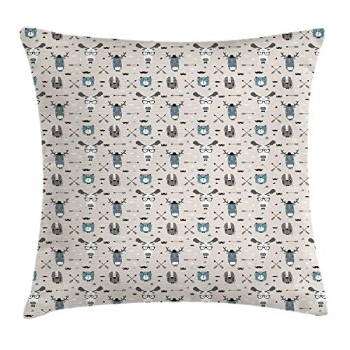 (Ambesonne Doodle Throw Pillow Cushion Cover, Childish Reindeer Heads with Antlers Hipster Tiger Glasses Mustache Arrows, Decorative Square Accent Pillow Case, 18