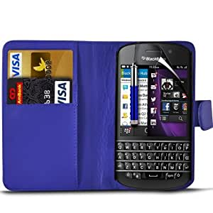 (Dark Blue) Blackberry Q10 Protection Faux Leather Debit / Credit Card Slot Book Style Wallet Flip Case Cover Skin, Retractable Capacative Touch Screen Stylus Pen & LCD Screen Protector Guard By *Aventus*