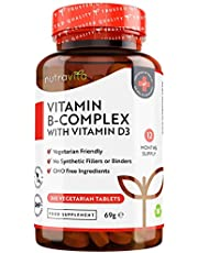 B-vitaminkomplex – 365 vegetariska ta-bletter – 1 års förbrukning – med 8 högef-fektiva B-vitaminer i 1 tablett plus D3 – Vi-taminerna B1, B2, B3, B5, B6, B12, biotin och folsyra – Tillverkade i Storbritannien av Nutravita