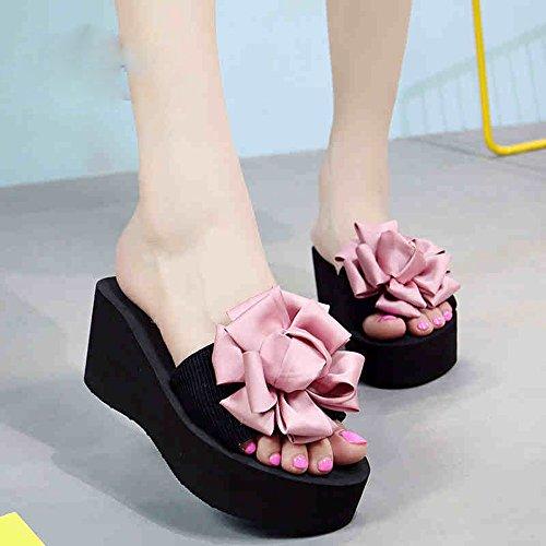 Mujeres Señoras Sandalias 7cm -multi-color tacones altos Zapatillas femeninas del verano Zapatos de tacón alto de la playa Forme las sandalias para 18-40 años Cómodo ( Color : Blue-7cm , Tamaño : 34 ) Pink-7cm