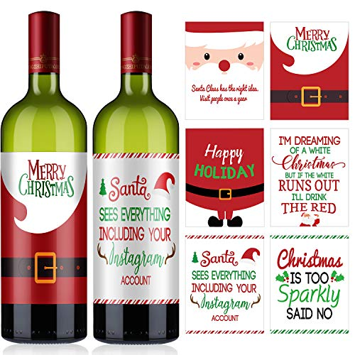 12 Pieces Christmas Party Wine Bottle Decorations, Christmas Wine Bottle Label Stickers Xmas Wine Bottle Cover Gift Set for Christmas Party Decor Supplies, 6 Styles (Santa Claus Style)
