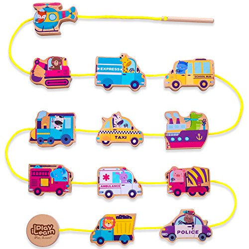 Wooden Lacing Beads Vehicle Block Set, Educational Hand String Toy Cars, Learning Jigsaw Puzzle Play Mat Gift for Ages 6, 9, 12 Months 1, 2, 3 Years Old, Babies, Girls, Boys, Toddlers & Kids