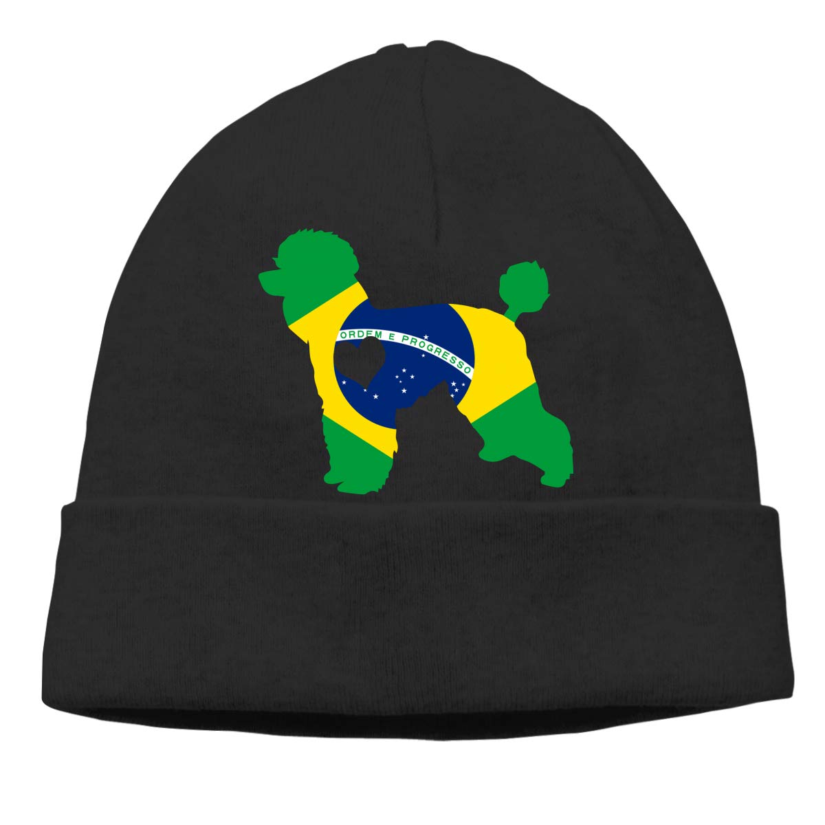 GDSG5/&4 Poodle Dog Heart Brazil Flag Unisex Baggy Winter Ski Beanie Cap