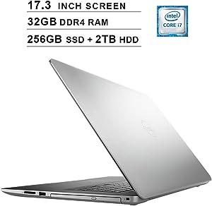 2020 Dell Inspiron 3793 17.3 Inch FHD 1080P Laptop (Intel Core i7-1065G7 up to 3.9GHz, NVIDIA GeForce MX230 2GB, 32GB DDR4 RAM, 256GB SSD (Boot) + 2TB HDD, DVD, HDMI, WiFi, Bluetooth, Windows 10)